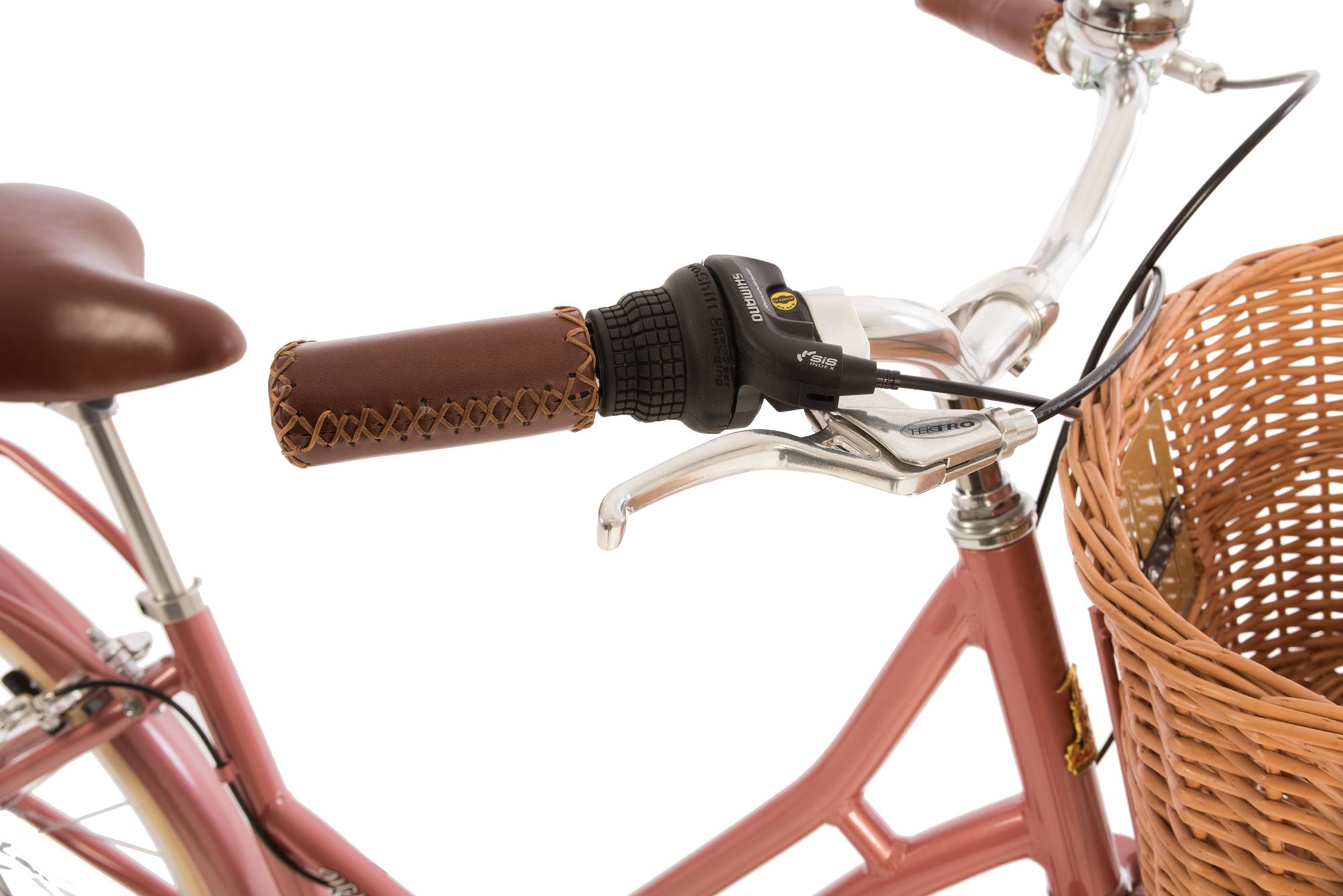 Detail of grip shift and grips on the Raleigh Willow classic ladies bike