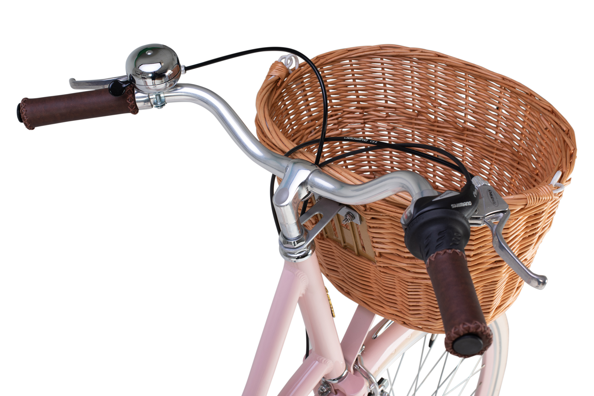 Handlebars and woven basket on the Raleigh Willow ladies bike in pink