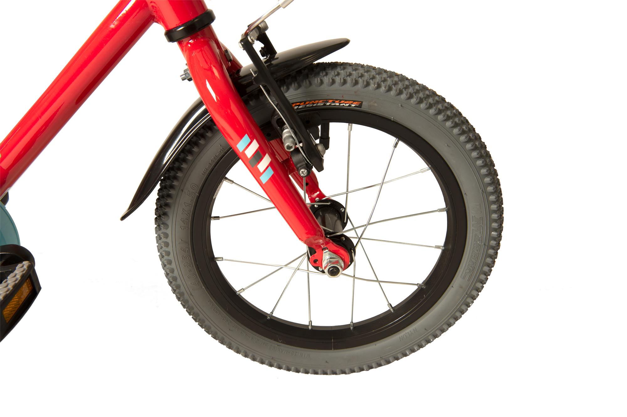 Front wheel on the Raleigh Pop 14 inch  kids bike with stabilises in red