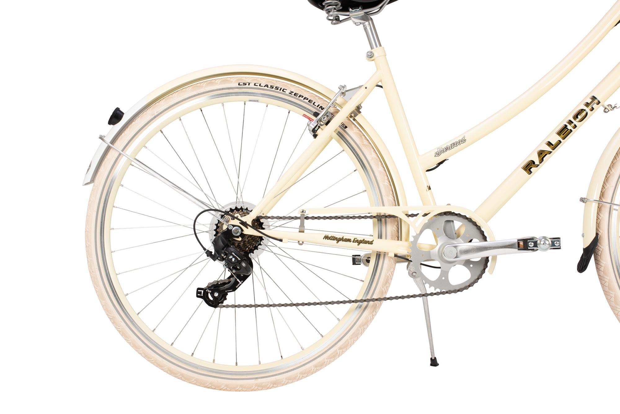 Rear wheel and drivetrain on the Raleigh Sherwood classic ladies bike
