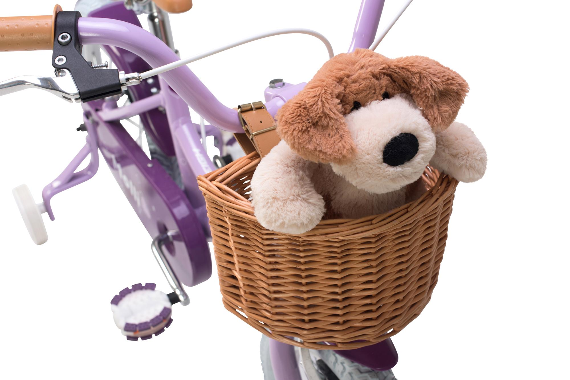 View of the basket on the Raleigh Molli 16 inch kids girls bike with stabilisers
