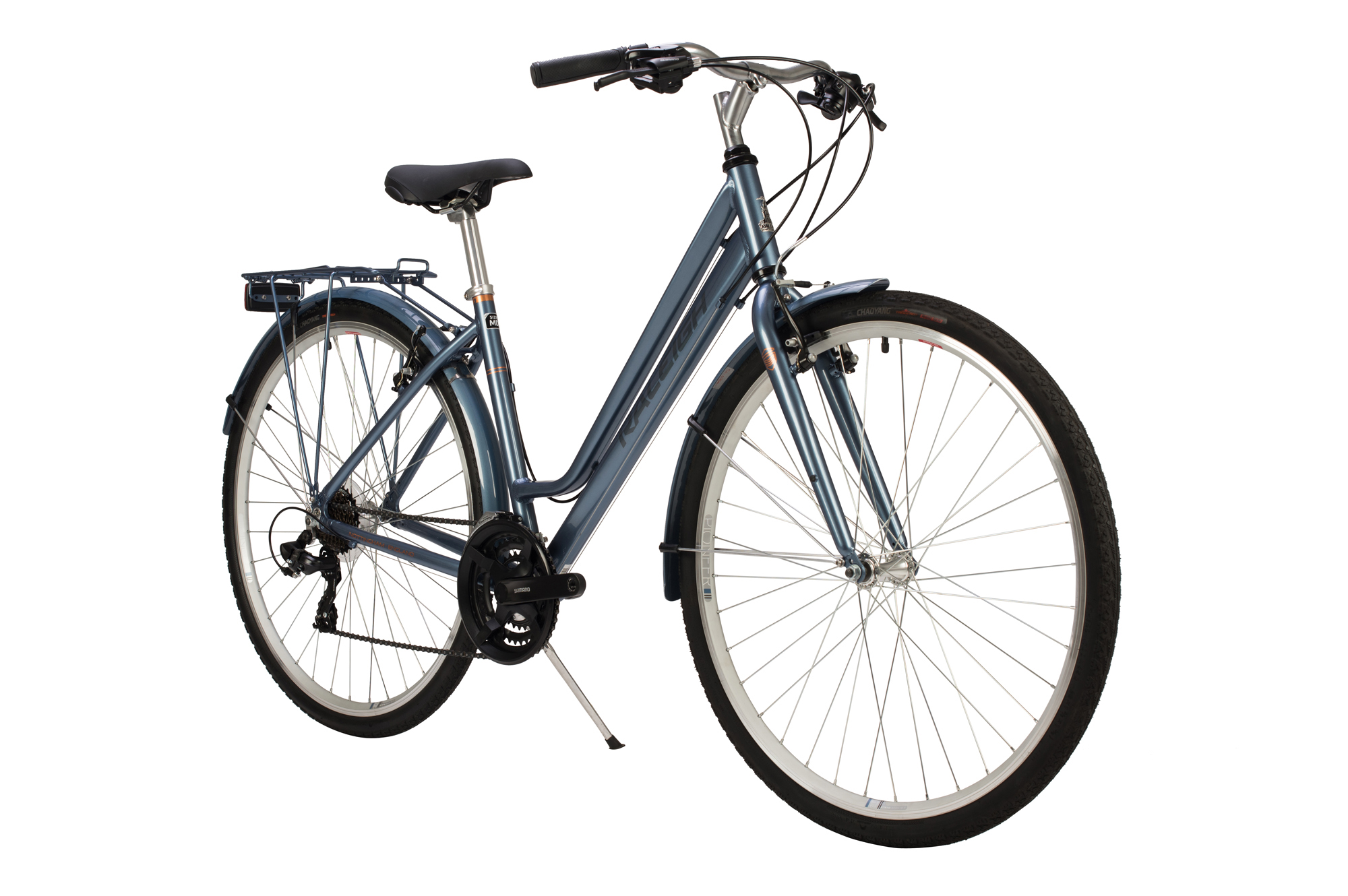 Front view of the Raleigh Pioneer low step bike in grey