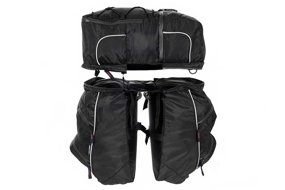 Three bags in the triple pannier bike bag set
