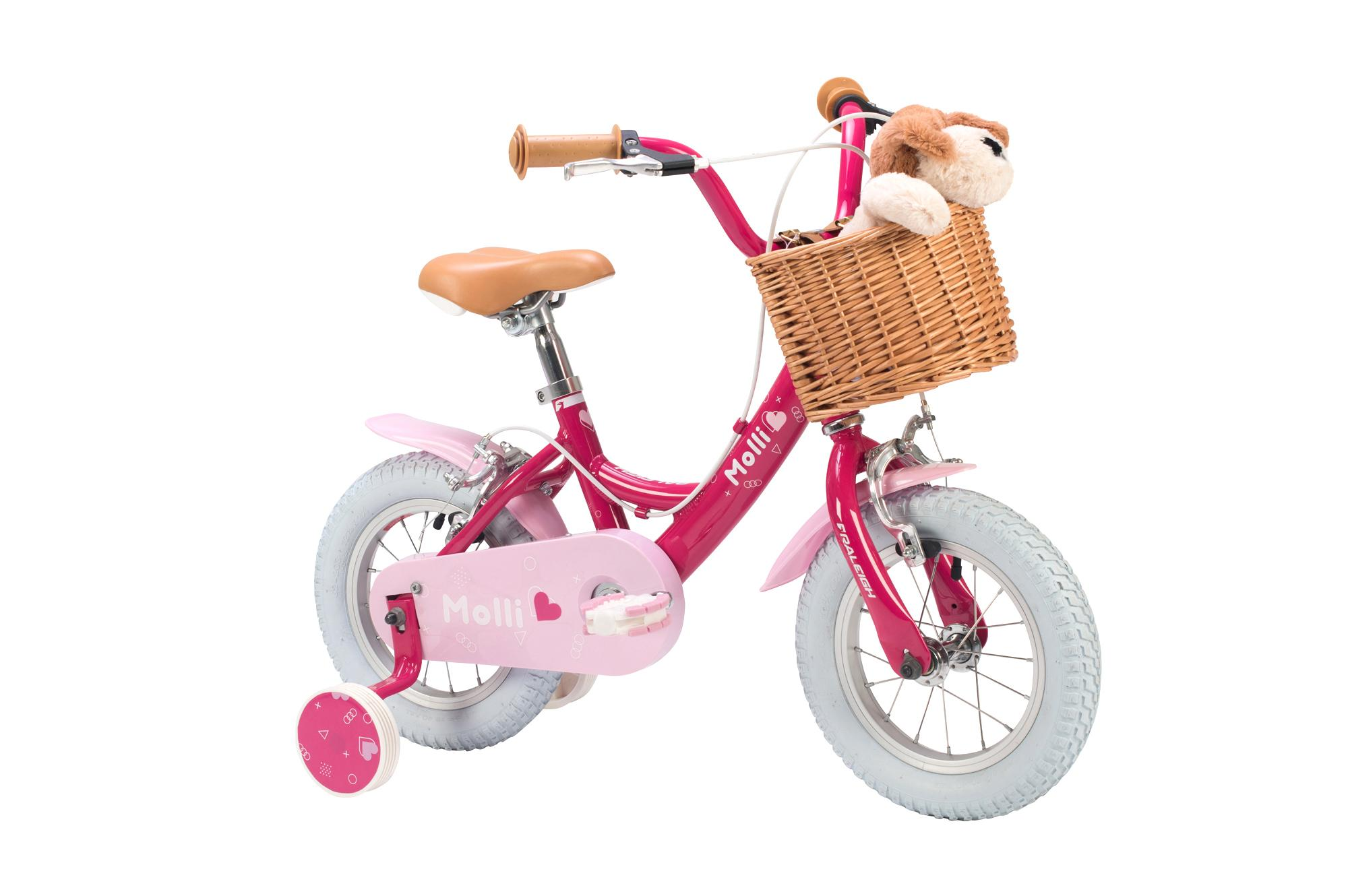 front view of the Raleigh Molli 12 inch girls bike with stabilisers