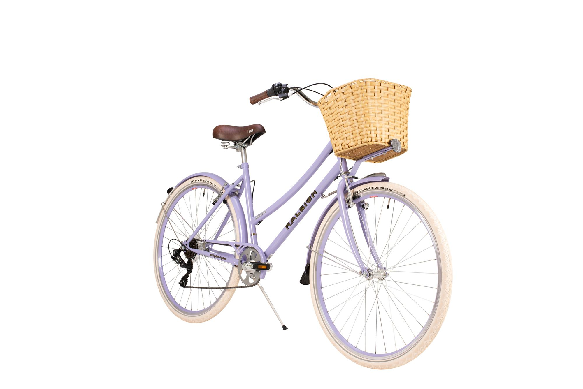 Front view of Raleigh Sherwood classic ladies bike with basket