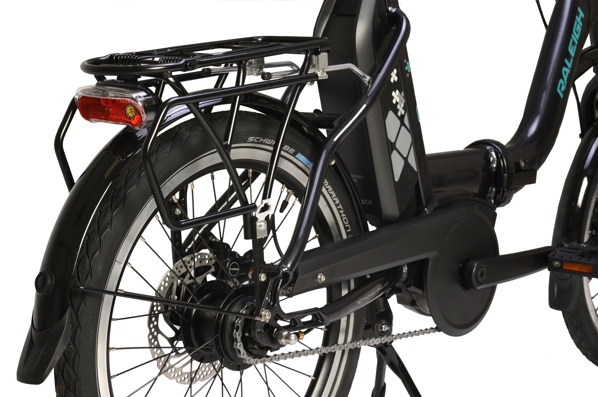 Rear luggage rack on the Raleigh Motus Kompact electric folding bike