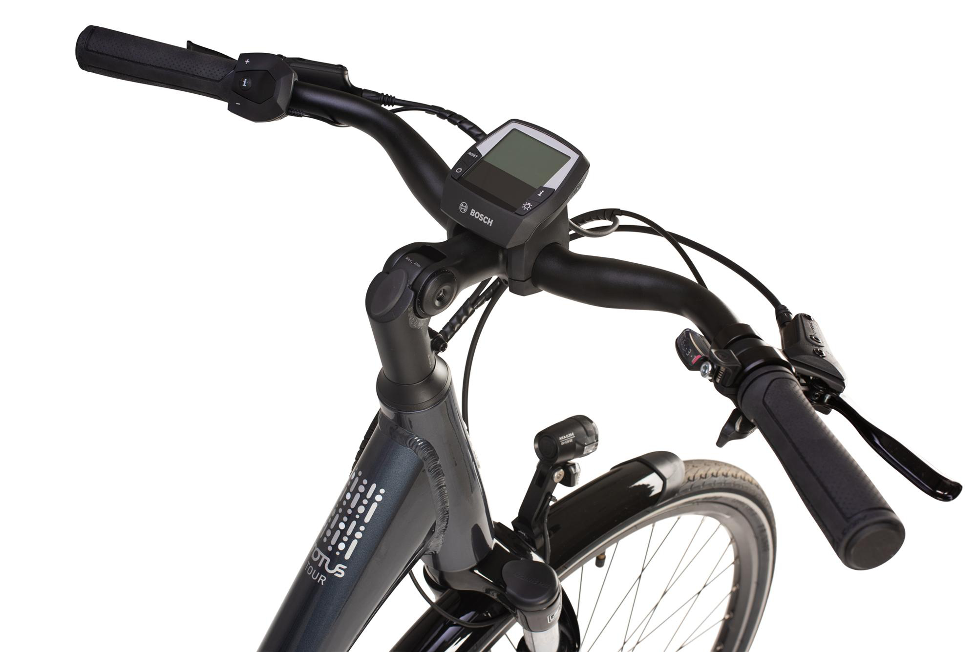 Raleigh Motus Tour low step electric bike handlebars and controller