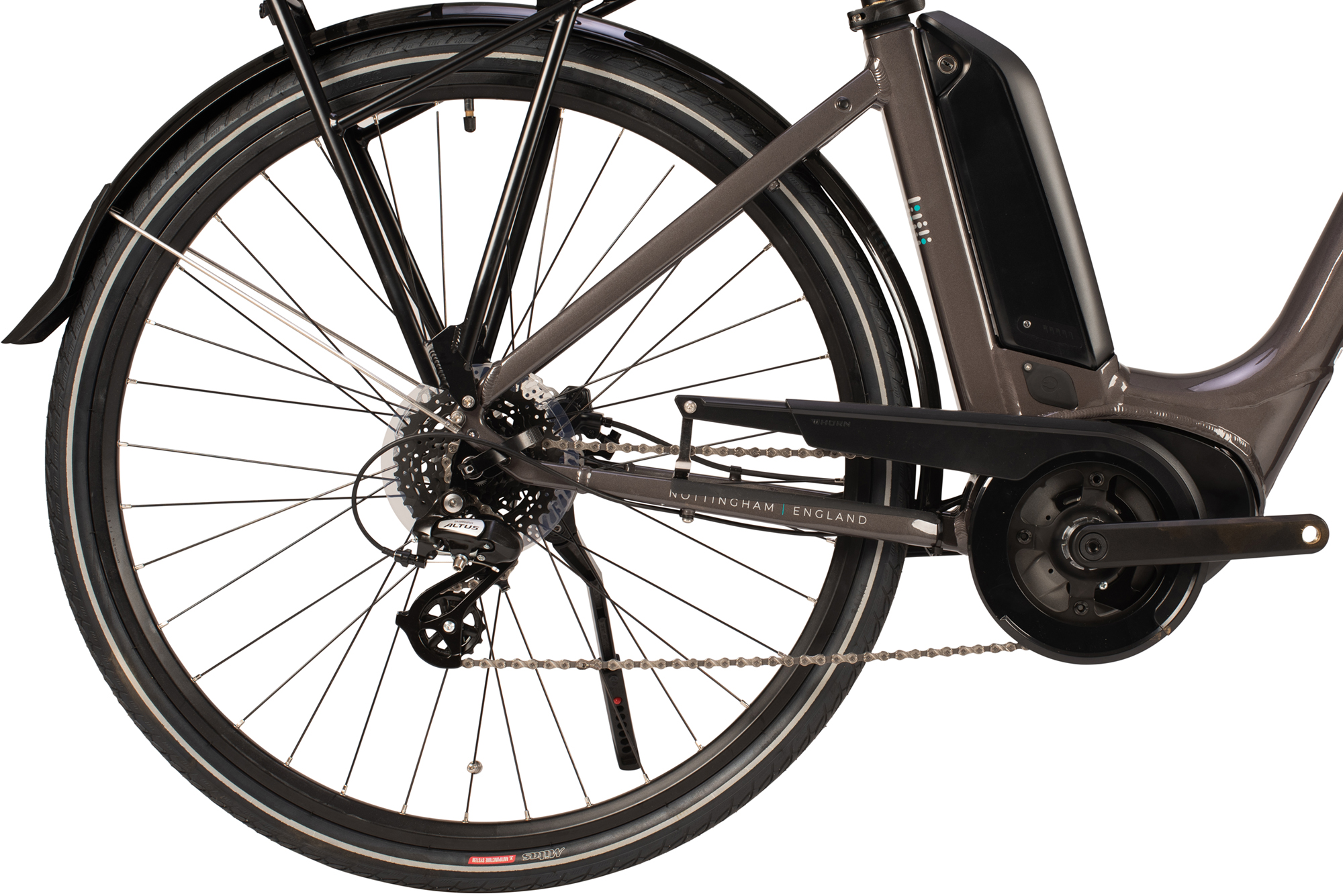 View of rear of the Raleigh Motus Low Step electric bike in grey colour
