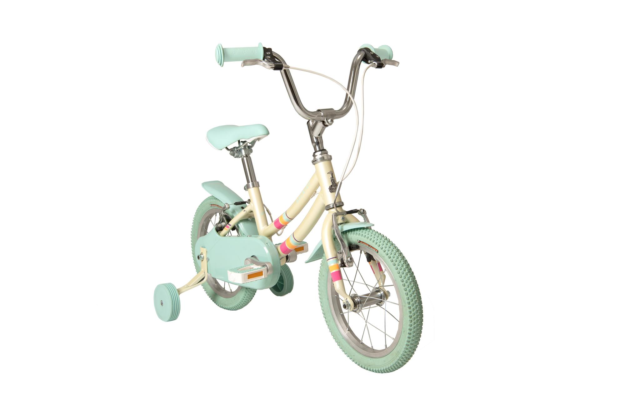 Front view of the Raleigh Pop 14 inch kids bike for girls with stabilisers in colour white