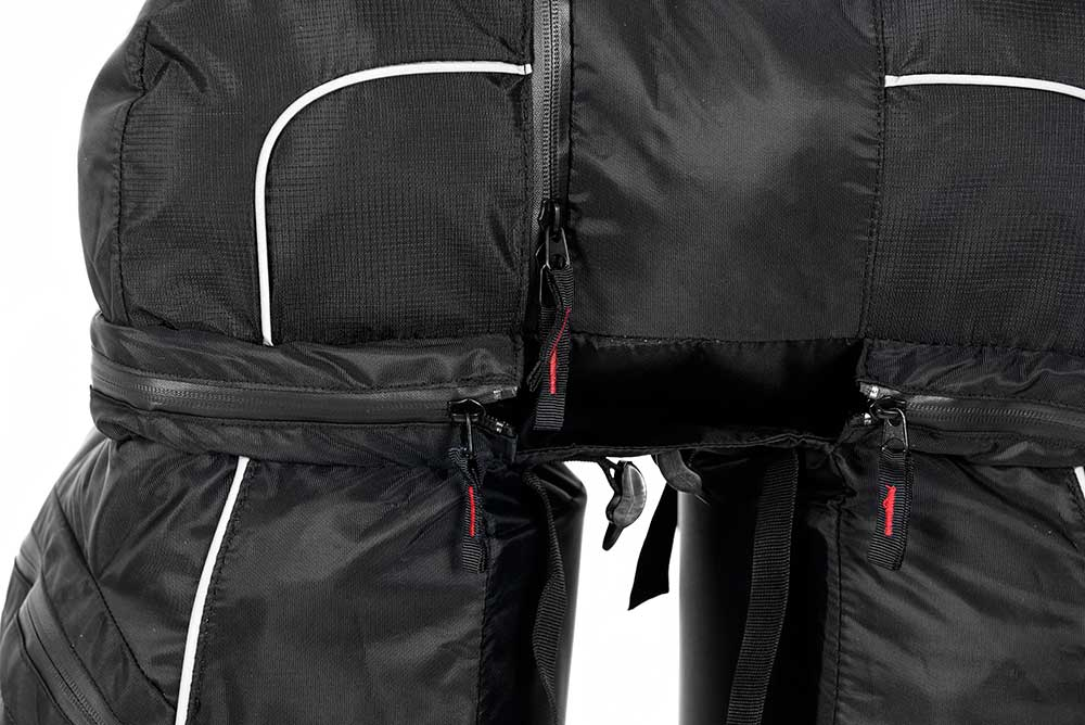 Close up of the triple pannier bike bag set