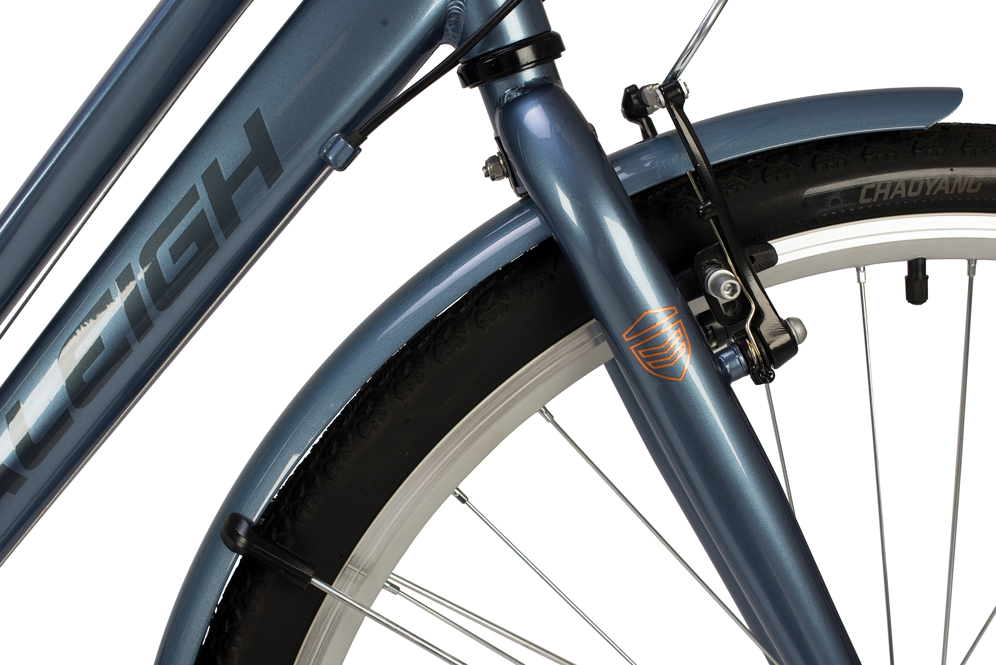 View of the front wheel and brakes on the Raleigh Pioneer low step bike in grey