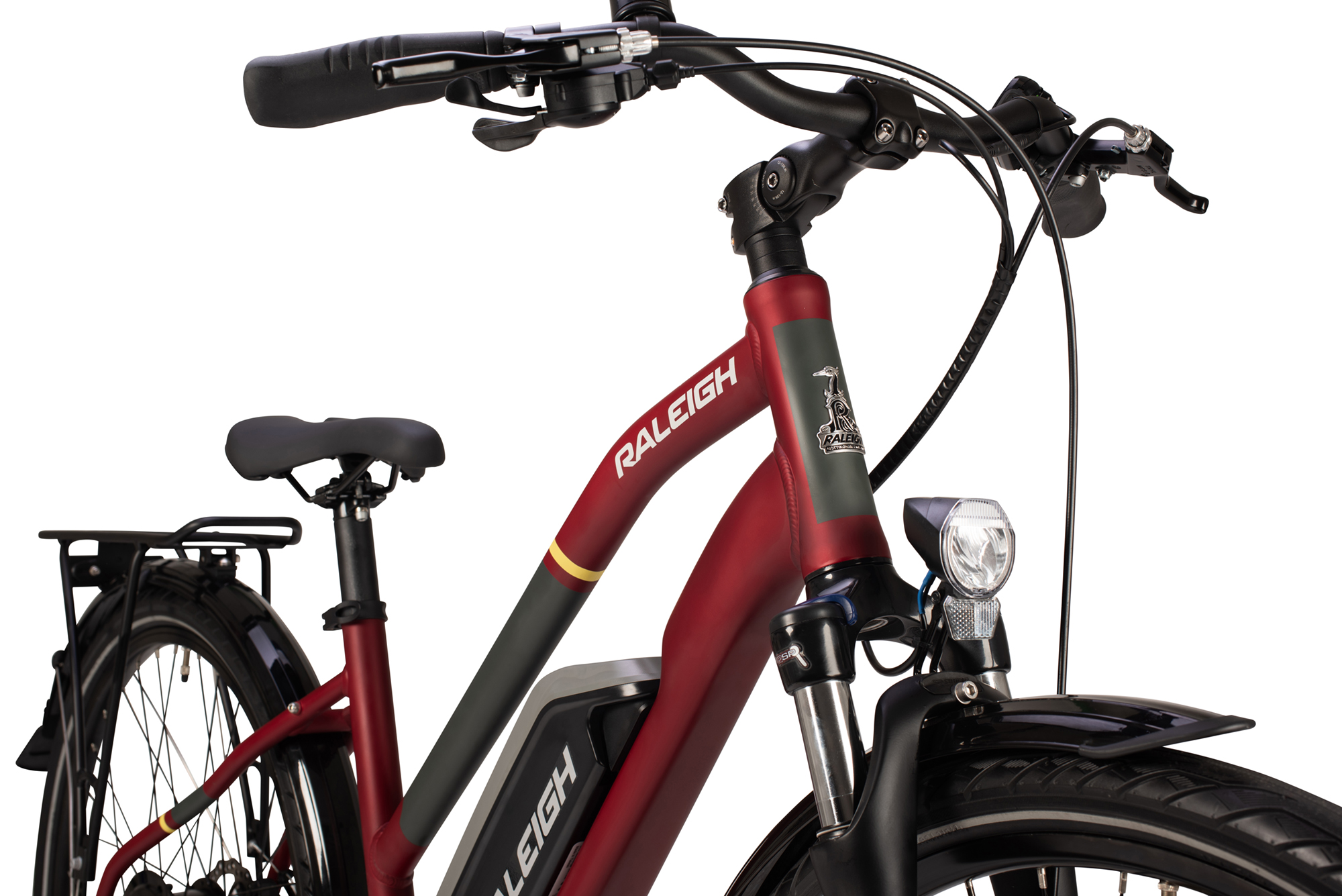 Front forks and handlebars on the Raleigh Array  ope frame electric bike