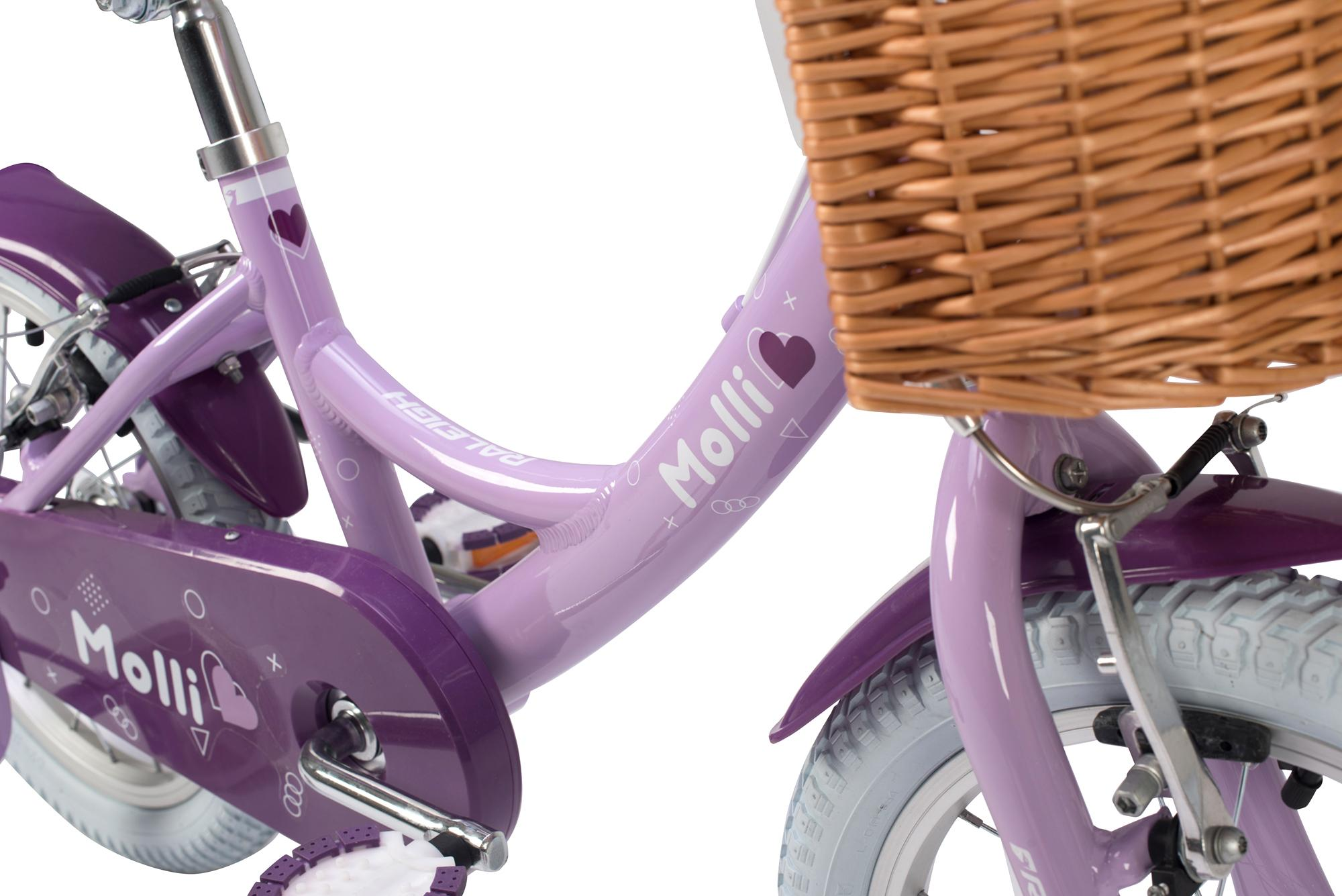 Detail view of Raleigh Molli 16 inch kids girls bike with stabilisers