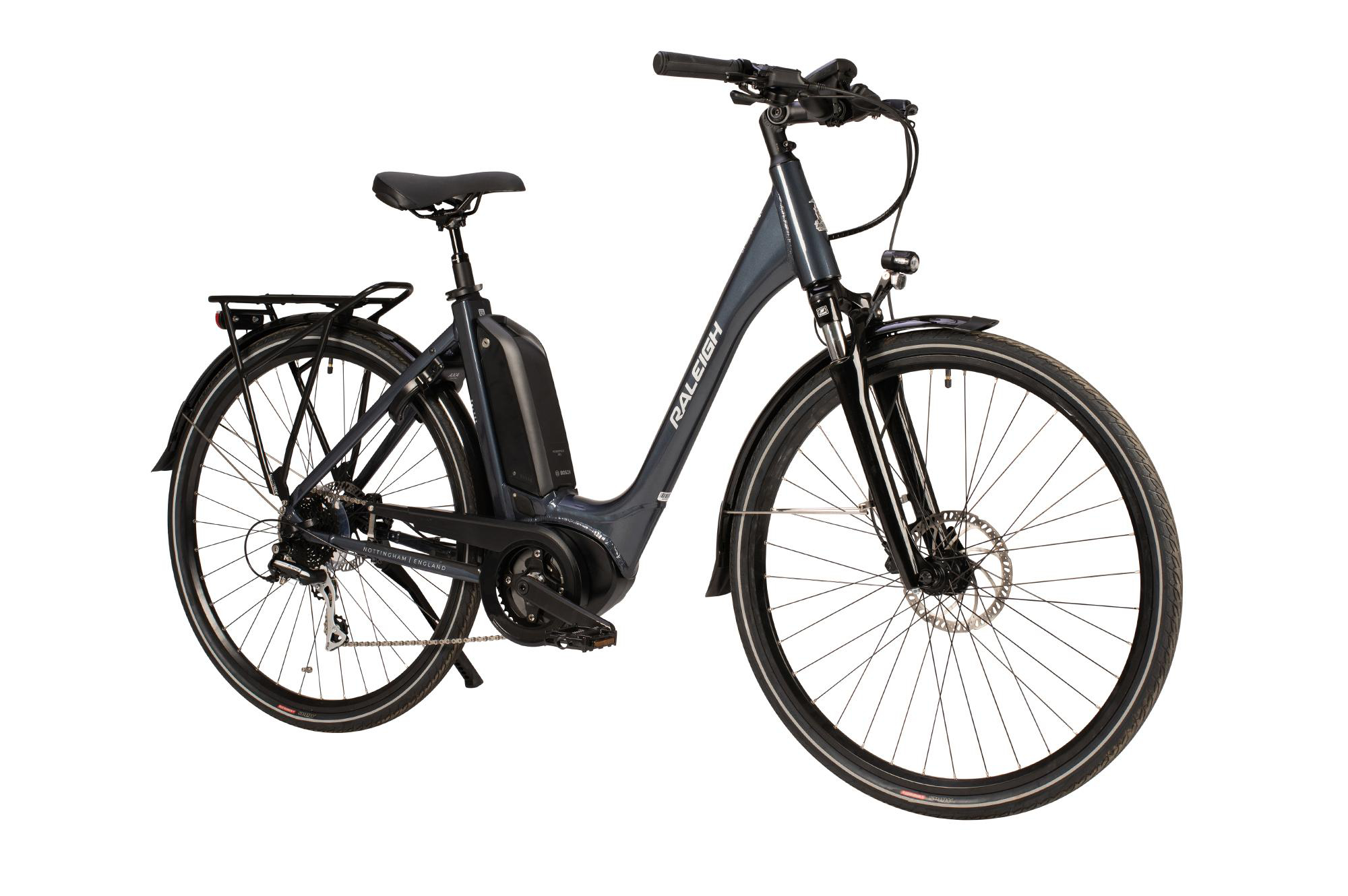 Side view of the Raleigh Motus Tour electric bike with low step frame