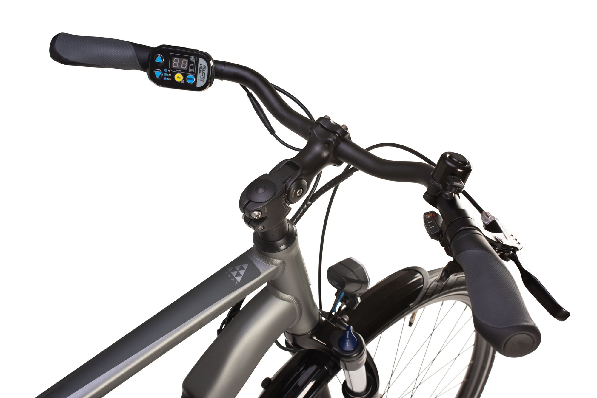 Handlebars on the Raleigh Array electric bike