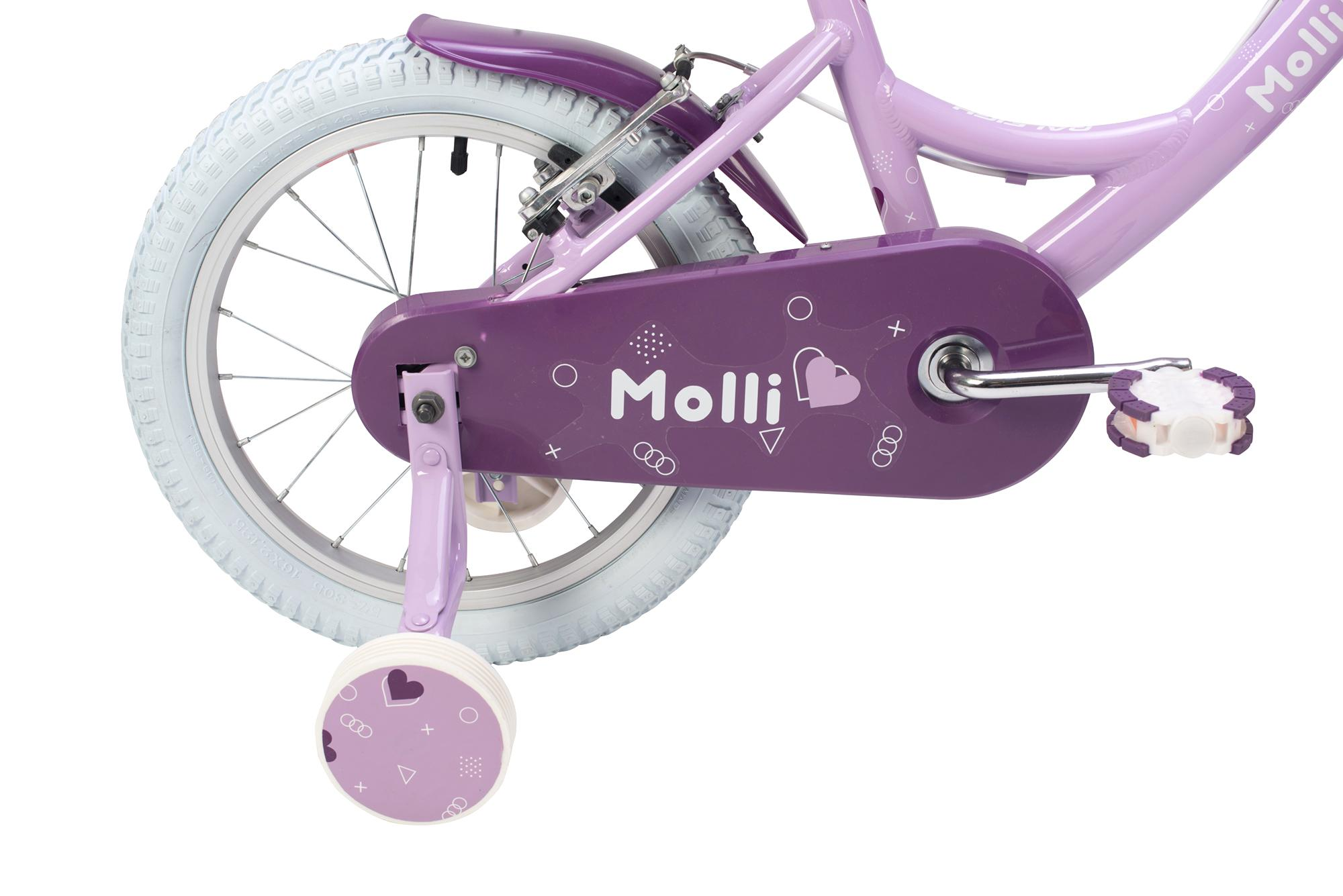 rear view of the Raleigh Molli 16 inch kids girls bike with stabilisers