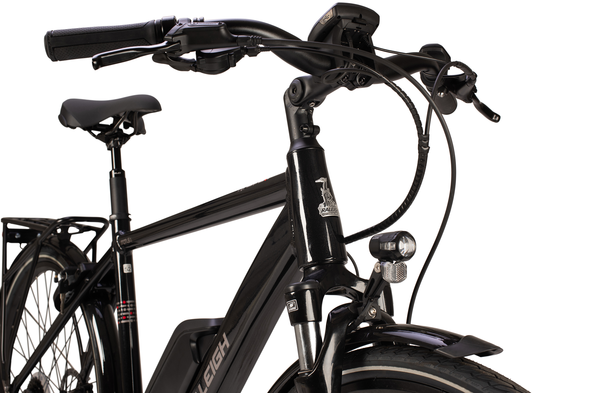 Front suspension forks and handlebars on the Raleigh Motus Grand Tour electric bike