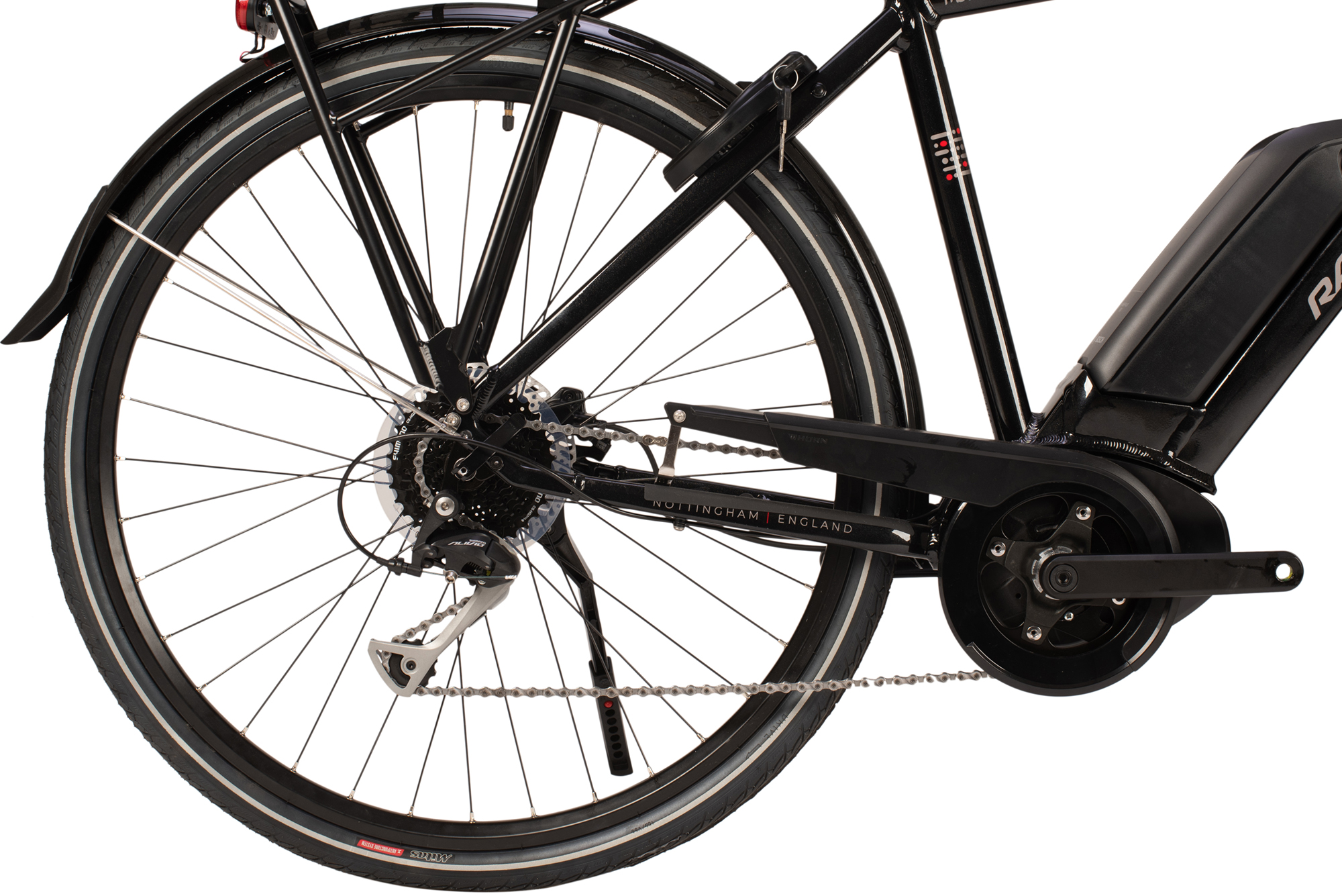 Drivetrain abd rear wheel on the Raleigh Motus Grand Tour electric bike