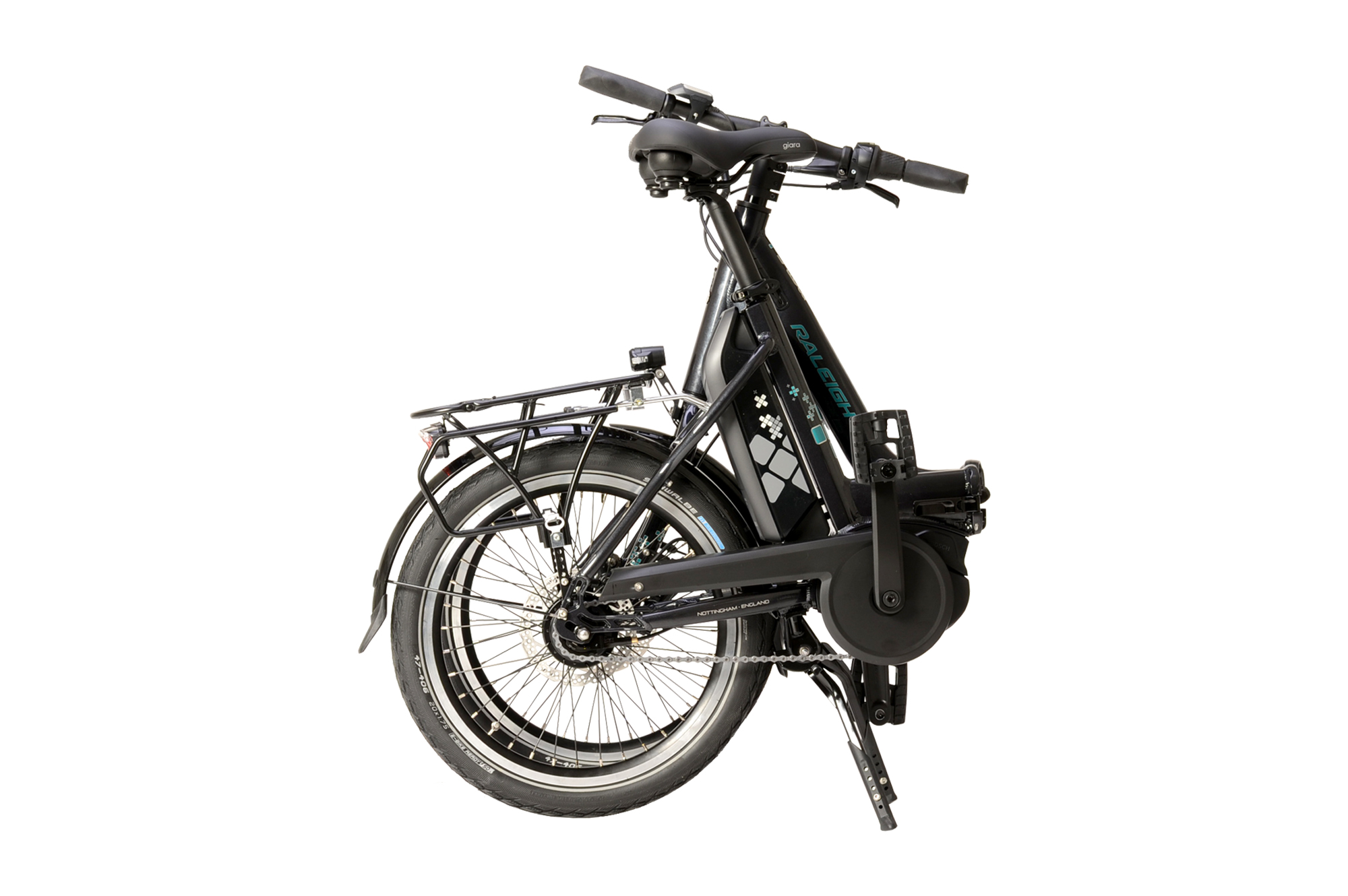 Folded Raleigh Motus Kompact electric folding bike
