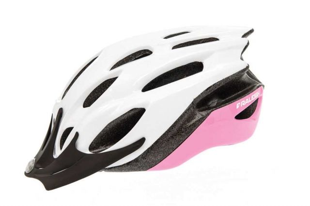 Raleigh Mission Evo bike helmet in white and pink
